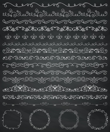 chalks: Collection of Seamless Hand Drawn Doodle Vintage Borders and Frames. Design Elements. Vector Illustration Illustration