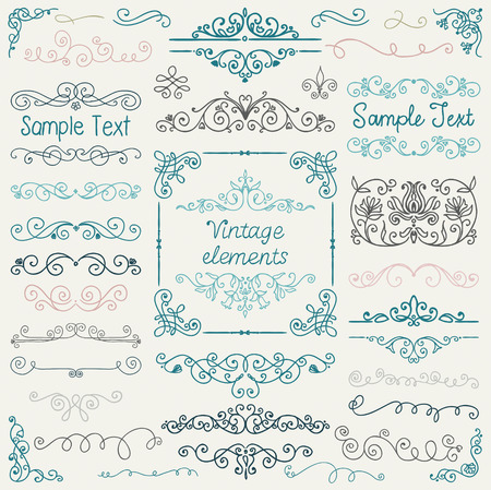retro art: Decorative Vintage Colorful Hand Sketched Doodle Design Elements. Frames, Dividers, Swirls. Vector Illustration