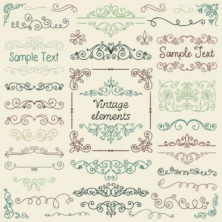 Decorative Vintage Colorful Hand Sketched Doodle Design Elements. Frames, Dividers, Swirls. Vector Illustration