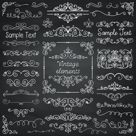 victorian scroll: Decorative Vintage Chalk Drawing Doodle Design Elements. Frames, Dividers, Swirls. Vector Illustration