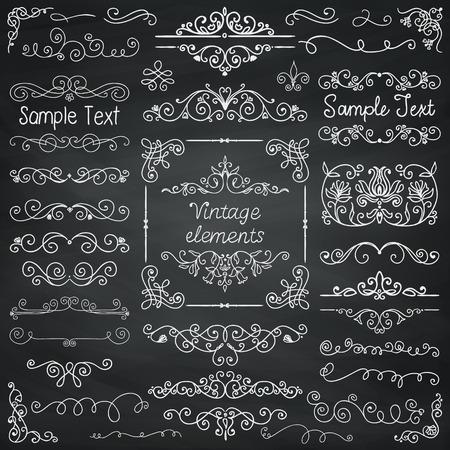 Trang trí Vintage Chalk Vẽ Doodle yếu tố thiết kế. Khung, Bộ chia, swirls. vector Illustration