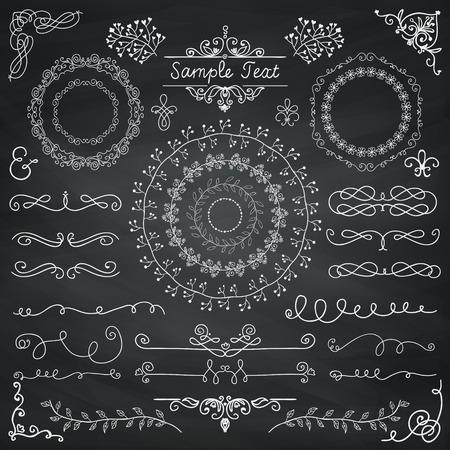 Decorative Vintage Chalk Drawing Doodle Design Elements. Frames, Dividers, Swirls. Vector Illustration