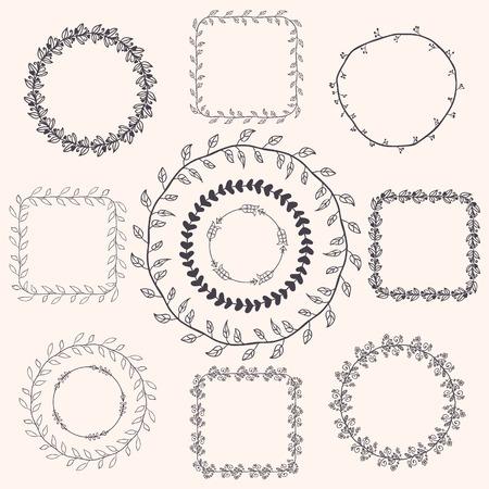 Decorative Black Hand Sketched Doodle Frames, Borders.  Illustration