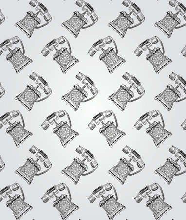 old telephone: Vintage Seamless Hand Sketched Doodle Pattern with Old Telephone. Vector Illustration with Swatches. Transparent Background