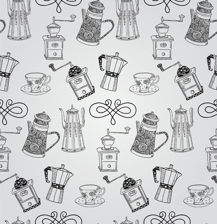 teapot: Vintage Seamless Hand Sketched Doodle Pattern with Teapots and Coffee Mills. Vector Illustration with Swatches. Transparent Background