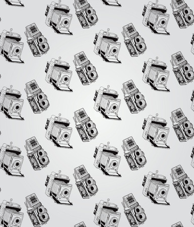 coffer: Vintage Seamless Hand Sketched Doodle Pattern with Retro Cameras. Vector Illustration with Swatches. Transparent Background