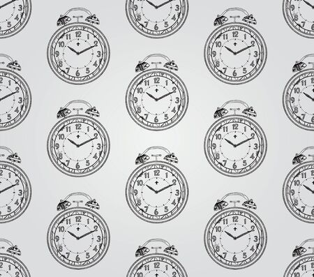 timekeeper: Vintage Seamless Hand Sketched Doodle Pattern with Old Watch. Vector Illustration with Pattern Swatches. Transparent Background