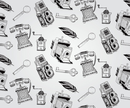 coffer: Vintage Seamless Hand Sketched Doodle Pattern with Retro Objects. Vector Illustration with Pattern Swatches. Transparent Background
