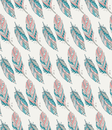 softly: Colorful Ethnic Seamless Pattern with Feathers. Vector Illustration. Hand Sketched. Pattern Swatch