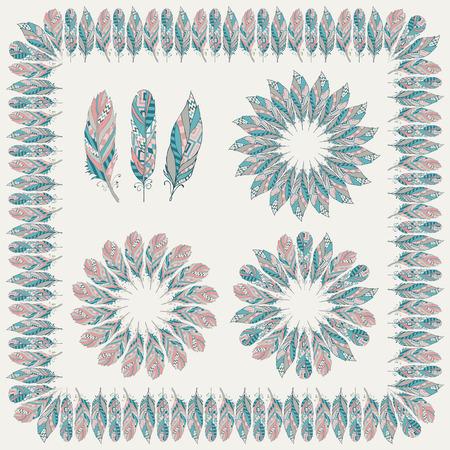 softly: Set of Colorful Ethnic Feather Frames. Vector Illustration. Hand Sketched Illustration