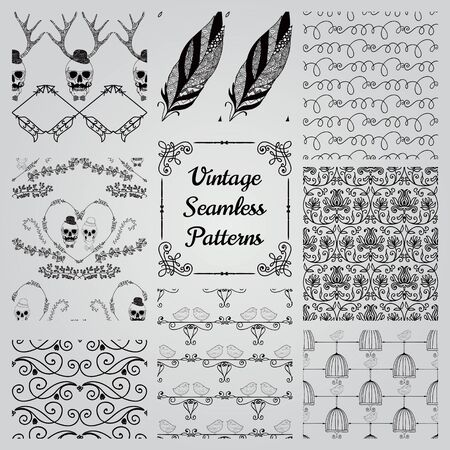 black swirls: Set of 8 Hand Sketched Doodle Decortive Seamless Backgrounds. Pattern Swatches with Transparent Background. Vector Illustration.