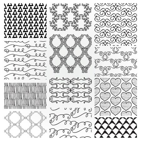 Set of 12 Hand Sketched Decortive Monochrome Seamless Backgrounds. Pattern Swatches with Transparent Background. Vector Illustration. Vector