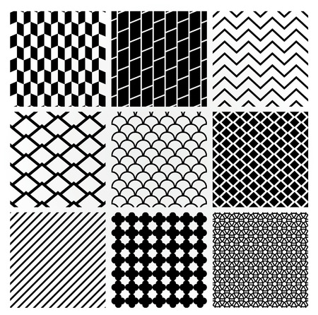 crankle: Set of 9 Black Geometric Monochrome Seamless Backgrounds with Pattern Swatches. Transparent Background. Vector Illustration.