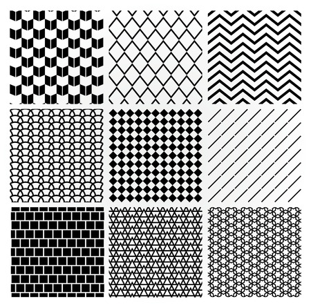 Set of 9 Black Geometric Monochrome Seamless Backgrounds with Pattern Swatches. Transparent Background. Vector Illustration. Vector