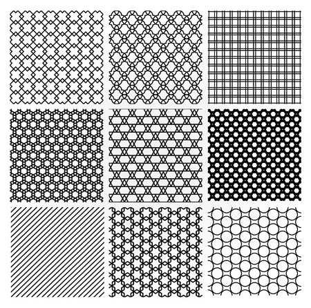 squared: Set of 9 Black Geometric Monochrome Seamless Backgrounds with Pattern Swatches. Transparent Background. Vector Illustration.