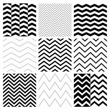 Set of Nine Black and White Abstract Geometric Zigzag Seamless Patterns. with Pattern Swatches. Transparent Background. Vector Illustration Çizim