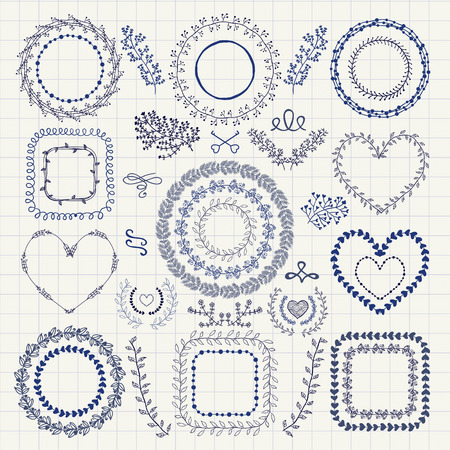 手描き落書き花装飾的なフレーム、ボーダー、花輪、月桂樹、枝のセットです。デザイン要素です。ペン描画ベクトル イラスト。