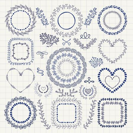 Set von Hand gezeichnet Doodle Floral Decorative Frames, Borders, Kränze, Laurels, Branchen. Design-Elemente. Federzeichnung Vektor-Illustration. Standard-Bild - 39307909