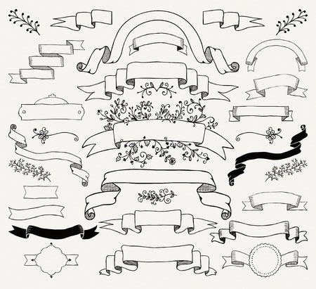 Insieme di elementi di design Doodle nero disegnato a mano. Striscioni floreali decorativi, nastri. Illustrazione vettoriale vintage