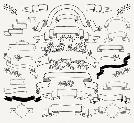 drawing: Set of Hand Drawn Black Doodle Design Elements. Decorative Floral Banners, Ribbons. Vintage Vector Illustration.