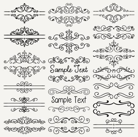 Set di elementi di design Doodle nero disegnato a mano. Decorativi divisori floreali, bordi, volute, pergamene, cornici di testo. Illustrazione vettoriale vintage.