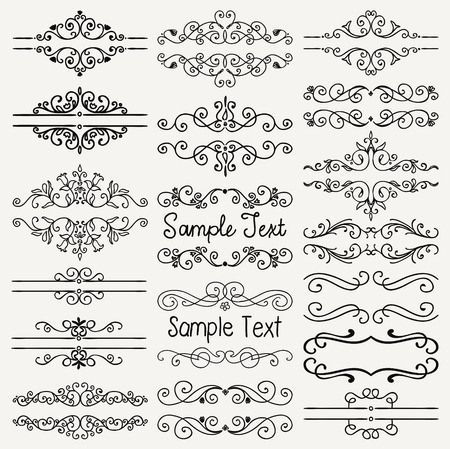 sample text: Set of Hand Drawn Black Doodle Design Elements. Decorative Floral Dividers, Borders, Swirls, Scrolls, Text Frames. Vintage Vector Illustration.