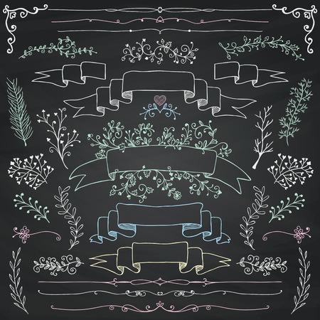 dibujo: Dibujado mano del Doodle Elementos de dise�o. Decorativas Banderas florales, divisores, ramas, cintas. Tiza. Textura de la pizarra. Ilustraci�n del vector de la vendimia.