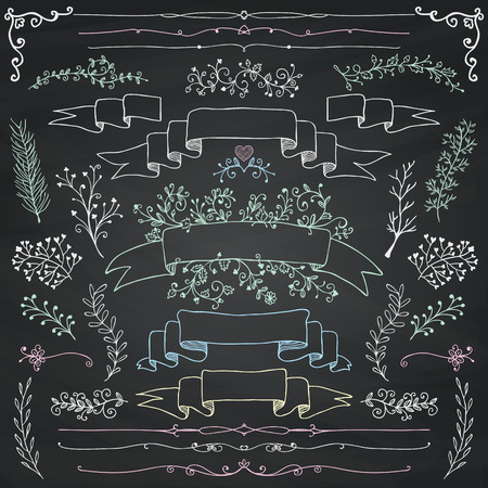 Hand Drawn Doodle Design Elements. Decorative Floral Banners, Dividers, Branches, Ribbons. Chalk Drawing. Chalkboard Texture. Vintage Vector Illustration.
