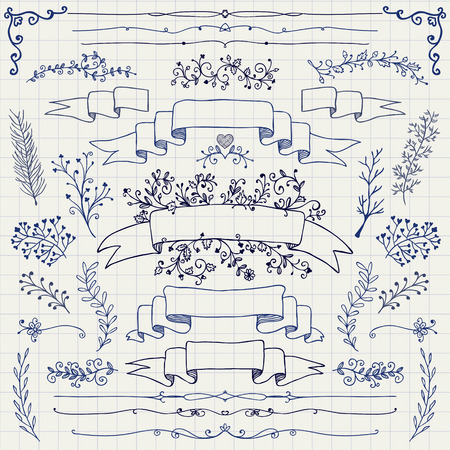 Hand Drawn Doodle Design Elements. Decorative Floral Banners, Dividers, Branches, Ribbons. Pen Drawing. Notebook Paper Texture. Vintage Vector Illustration.