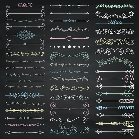 Set of Hand Drawn Doodle Design Elements. Decorative Floral Dividers, Arrows, Swirls, Scrolls. Chalk Drawing Vintage Vector Illustration. Chalkboard Texture.