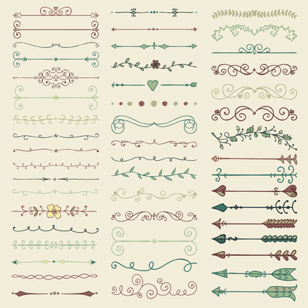 engagement party: Set of Hand Drawn Colorful Doodle Design Elements. Decorative Floral Dividers, Arrows, Swirls, Scrolls. Vintage Vector Illustration. Illustration