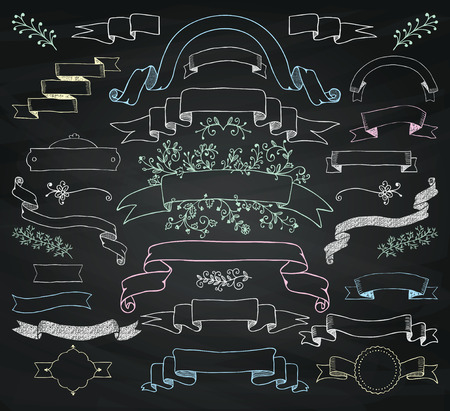 Set of Hand Drawn Colorful Doodle Design Elements. Decorative Floral Banners, Ribbons. Chalk Drawing Vintage Vector Illustration. Chalkboard Background Texture. Illustration