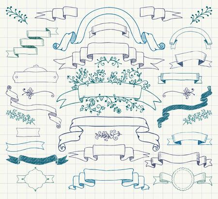 手描き落書きはカラフルなデザイン要素のセットです。リボンの装飾花バナーペン描画ビンテージ ベクトル イラスト。ノートブック紙背景テクスチ