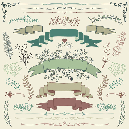Colorful Hand Drawn Doodle Design Elements. Decorative Floral Banners, Dividers, Branches, Ribbons. Vintage Vector Illustration.