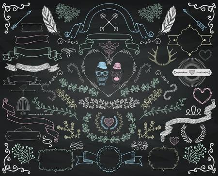 Set of Colorful Hand Drawn Doodle Floral Design Elements. Decorative Ribbons, Frames, Wreaths. Valentines Day. Wedding. Chalk Drawing Vintage Vector Illustration. Chalkboard Background Texture Illustration