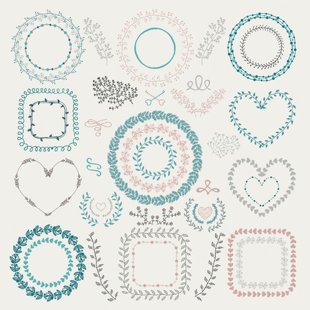 wedding clipart: Set of Colorful Hand Drawn Doodle Floral Decorative Borders, Frames, Wreaths, Laurels. Vintage Design Elements. Vector Illustration.