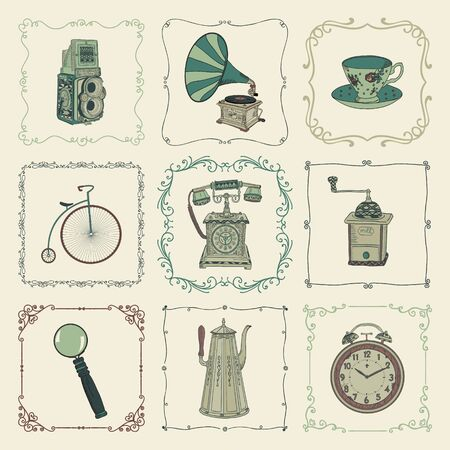 mills: Vintage Colorful Hand Drawn Doodle Icons, Objects and Vectors. Design Elements. Vector Illustration. Cameras, Kettles, Coffee Mills Illustration