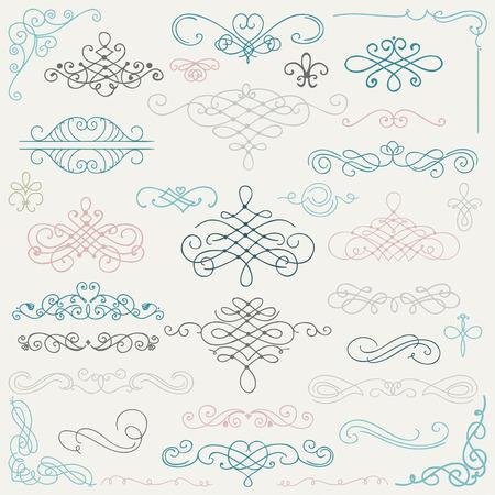 手描き落書きはカラフルなデザイン要素のセットです。装飾的な渦巻き、スクロール、テキスト枠の仕切り。