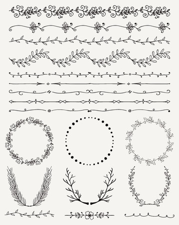 Collection of Black Artistic Hand Sketched Decorative Doodle Vintage Seamless Borders. Frames, Wreaths, Branches, Dividers. Design Elements. Hand Drawn Vector Illustration  イラスト・ベクター素材