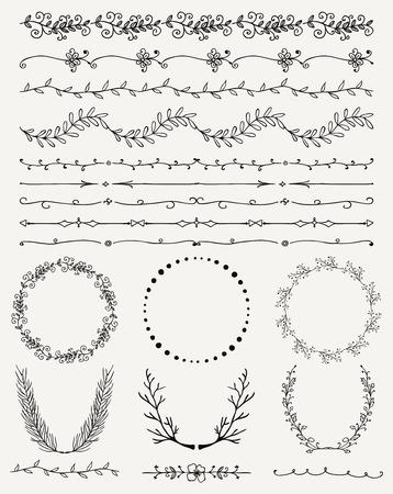 黒の功妙な手のコレクションは、装飾的な落書きヴィンテージ シームレスな境界線をスケッチしました。フレーム、花輪、枝、仕切り。デザイン要