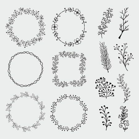 Collection of Black Artistic Hand Sketched Decorative Doodle Borders and Frames. Floral Design Elements. Hand Drawn Vector Illustration. Pattern Brashes