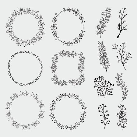 Het verzamelen van Black Artistic Hand geschetste decoratieve Doodle Borders and Frames. Floral Design Elements. Hand Getrokken Vector Illustratie. Patroon Brashes