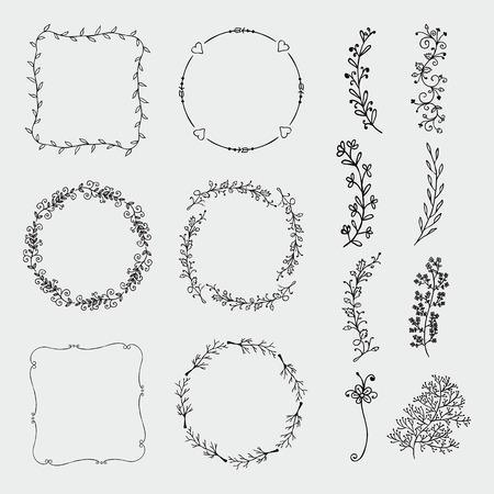 黒の功妙な手のコレクションは、装飾的な落書きボーダーとフレームをスケッチしました。花のデザイン要素。手には、ベクター グラフィックが描  イラスト・ベクター素材