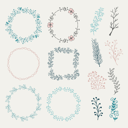 brashes: Collection of Colorful Artistic Hand Sketched Decorative Doodle Borders and Frames. Floral Design Elements. Hand Drawn Vector Illustration. Pattern Brashes Illustration