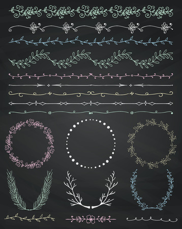 Collection of Chalk Drawing Artistic Hand Sketched Decorative Doodle Vintage Seamless Borders. Frames, Wreaths, Branches, Dividers. Design Elements. Hand Drawn Vector Illustration. Chalkboard Texture Illustration