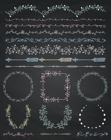 chalks: Collection of Chalk Drawing Artistic Hand Sketched Decorative Doodle Vintage Seamless Borders. Frames, Wreaths, Branches, Dividers. Design Elements. Hand Drawn Vector Illustration. Chalkboard Texture Illustration