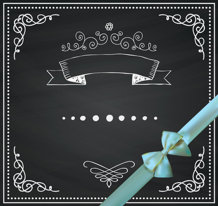 Chalkboard Invitation Greeting Card with Realistic Bow and Ribbon. Decorative Vintage Chalk Drawing Design Elements. Frames, Dividers, Swirls. Vector Illustration