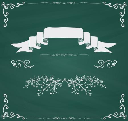 Chalkboard Invitation Greeting Card with Doodle Hand Sketched Elements. Decorative Vintage Chalk Drawing Design Elements. Frames, Dividers, Swirls. Vector Illustration Illustration