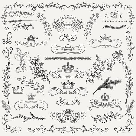 Hand Drawn Artistic Black Doodle Design Elements. Decorative Floral Crowns, Dividers, Branches, Swirls, Wreaths. Vintage Hand Sketched Vector Illustration. Pattern Brashes