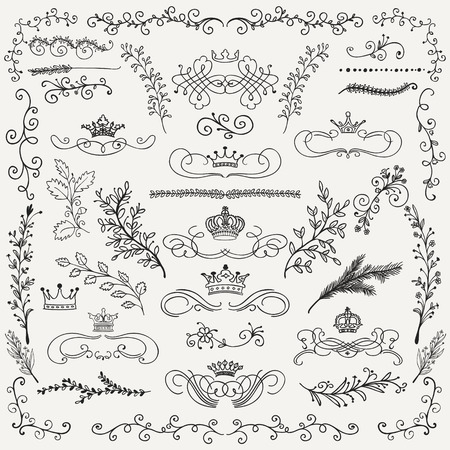 cartoon party: Hand Drawn Artistic Black Doodle Design Elements. Decorative Floral Crowns, Dividers, Branches, Swirls, Wreaths. Vintage Hand Sketched Vector Illustration. Pattern Brashes